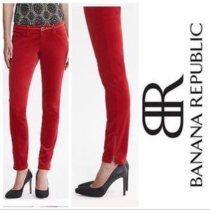 Banana Rep Red Heritage Velvet Skinny Ankle Zip